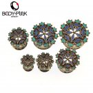 BODY PUNK  Polished Trendy Gold  Flower Round Shade Ear Plug Stainless Stee
