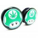1 pair pot leaf mushroom plugs black acrylic screw fit flesh tunnel ear plu