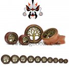 fashionable red rose wood metal tree ear piercing tunnels and plugs body je