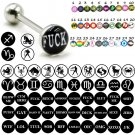 Surgical Steel Hero Sexy Dirty Word Gay Logo Tongue Barbell Rings Piercing