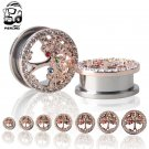 Trendy Tree of life body jewelry Ear  Plug 316LStainless Steel Rose Gold Ea