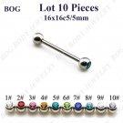 BOG Single CZ Gem Straight Barbeels Tongue ring Piercing Bar Body Jewelry 1