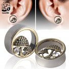 Mushroom 316L Steel Double Flares Ear Gauges  Plugs Body Jewelry Piercing E