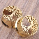 1 Pair Tree of Life Copper Flesh Tunnel Brass Ear Plug Expander Stretching