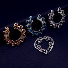 1 pairs gold/silver plated Pink/lake blue heart round  Gem Clip On Fake Nip