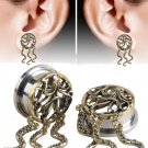 Hot Sell Octopus Design Ear Plugs Tunnel Flesh Stainless Steel Hollow Perso