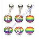 Showlove Lot of 15pc Mixed Logo Stainless Steel Gay Pride Rainbow Barbell T