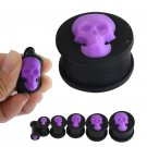 4 25mm Purple Skull Ear Gauges Plug Soft Silicone Ear Tunnels Cool Plugs Ea