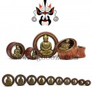 fashionable red rose wood metal buddha ear piercing tunnels and plugs body