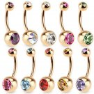 Hot 1 Pc Unisex 9 Colors Charm Golden Crystal Ring Body Piercing Jewelry Na