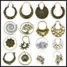 Pair Brass Tribal Indian Beaded Mandala Lotus Flower Design Spiral Drop Ear