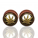 Carve Leaves Natural Wood Bubinga Hollow Ear Plug Tunnels Piercing Expander
