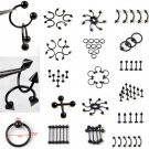 10Pcs/Lot Stainless Steel Black Curved Eyebrow Nose Lip Nipple Ears Rings P