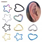 5 pcs/lot Fake Ear Piercing Tragus Heart Piercing Cute Star Earrings Cartil