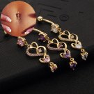 2016 Heart Clear Pink Purple Cubic Zirconia  Gold Color Belly Button Navel