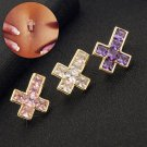 Gussiarro Hot Cross Clear Pink Purple Cubic Zirconia Gold color Belly Butto