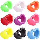 Showlove 2Pcs Acrylic Heart Hollow Double Flare Ear Tunnels Ear Plugs Ear P