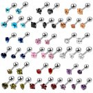5Pcs/Lot 16G Steel Tragus Helix Cartilage Earrings Mixed Design Crystal Ear
