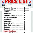 Price List For Barber Shop, Poster Size 24'W X 36'H Already Laminated