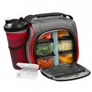 Thermal Insulated Lunch Bag Bento Box w/6 Leakproof Food Containers 28oz  Bottle