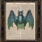 Bat Art Print on Antique Book Page Vintage Illustration
