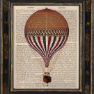 Hot Air Balloon Art Print on Antique Book Page Vintage Illustration