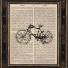 bicycle Art Print on Antique Book Page Vintage Illustration