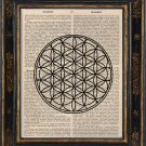 Flower of Life Art Print on Antique Book Page Vintage Illustration