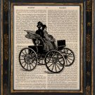 Victorian Women Art Print on Antique Book Page Vintage Illustration
