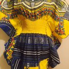Handmade Ruffled 100% Cotton African Dashiki Print Elastic Waist Top  (One of a