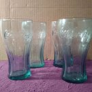 Set of 4 Genuine Green Coca-Cola 12 oz Vintage Drinking Glasses / Made by Libbey
