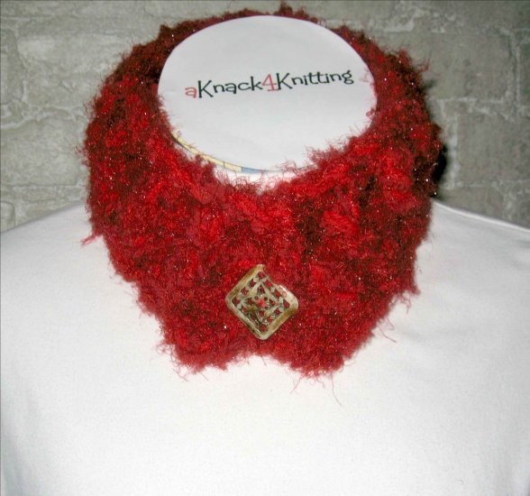 Red on Red Neck Warmer - Soft & Warm - Hand Crocheted by me - in Kansas