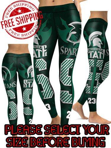 American University Michigan State Spartans College Team Sports Leggings
