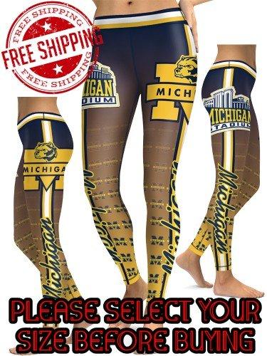 American University Michigan Wolverines College Team Sports Leggings