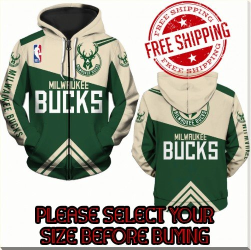 Milwaukee Bucks Basketball Team Sport Hoodie With Zipper