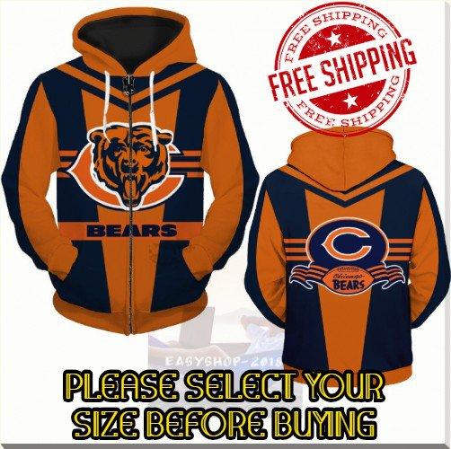 Chicago Bears Football Team Sport Hoodie With Zipper