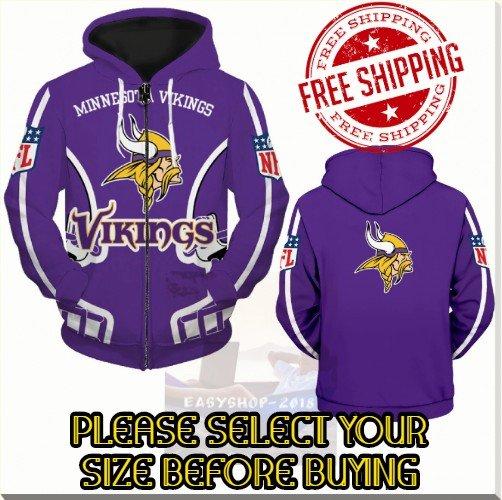 Minnesota Viking Football Team Sport Hoodie With Zipper