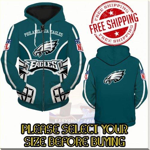 Philadelphia Eagles Football Team Sport Hoodie With Zipper