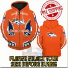 Denver Broncos Football Team Sport Hoodie With Zipper