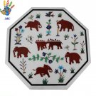"""18"""" Marble Table Top Inlay Elephant Design Art Home Decor And Gift."""