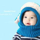 ADORABLE ANIMAL SPLICED COLOR BLOCK HOODED COWL FOR CHILDREN (LAKE BLUE)