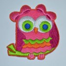"""Hot Pink Whooting OWL Groovy Colorful Embroidered Iron-on Patch Applique 2.5"""""""