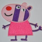 """Pink Pig Zebra Groovy Colorful Embroidered Iron-on Patch Applique 3"""""""