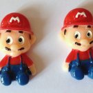 Mario Red & Blue Resin Cabochons or Add Magnet (Set of 2)