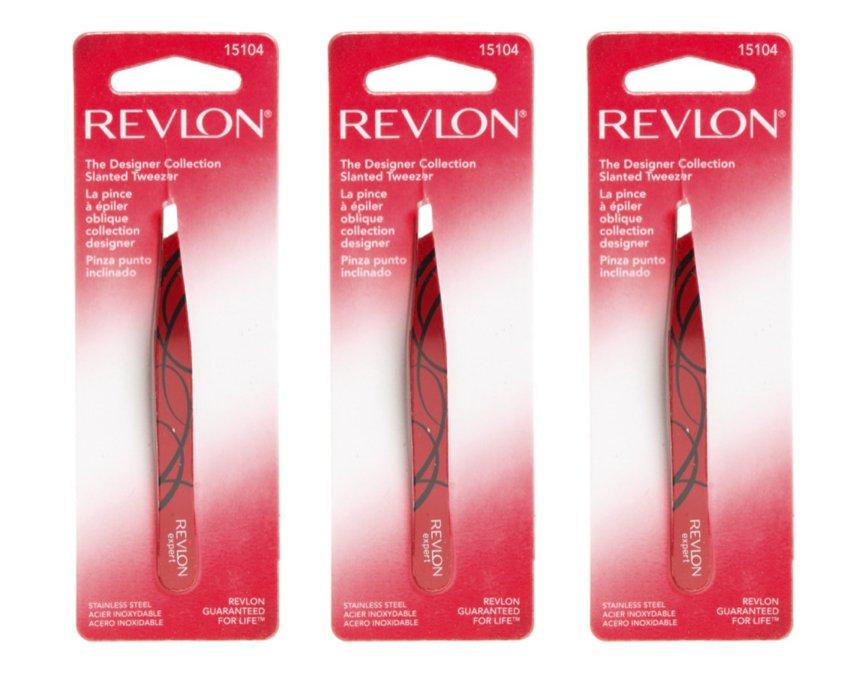 (3-PACK) Revlon The Designer Collection Slanted Tweezers 15104