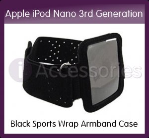 Black Sports Wrap Armband Case/Holder with Strap for the Apple iPod Nano 3rd Generation