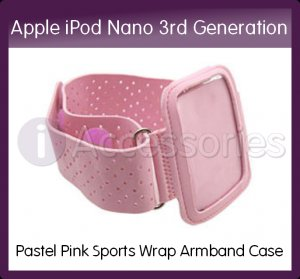 Pastel Pink Sports Wrap Armband Case/Holder with Strap for the Apple iPod Nano 3rd Generation