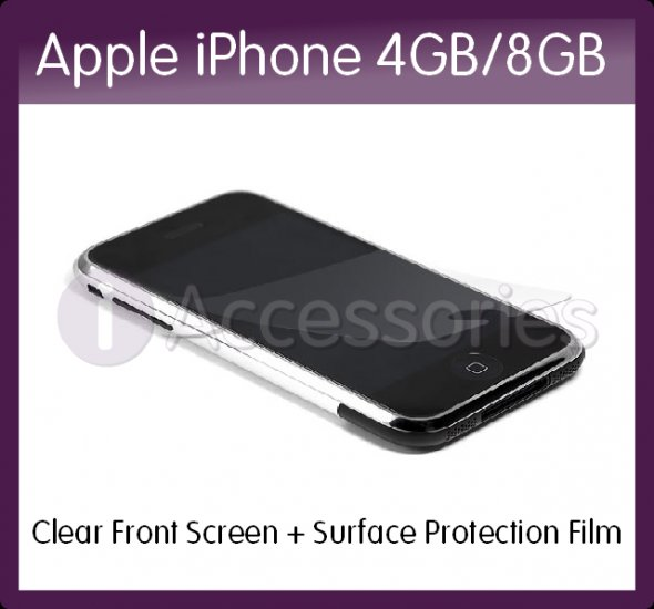 Clear Screen and Surface Protection Film for the Front Surface of the Apple iPhone 4GB/8GB