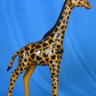 Stunning Hand Painted Leather Giraffe - Home Decor Statute 60 Inch