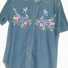 WOMEN'S BLUE JEAN PRINTED BUTTON DOWN SIZE M
